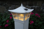 The 4x4 and 5x5 White Ambience are solar light caps for vinyl fence posts.