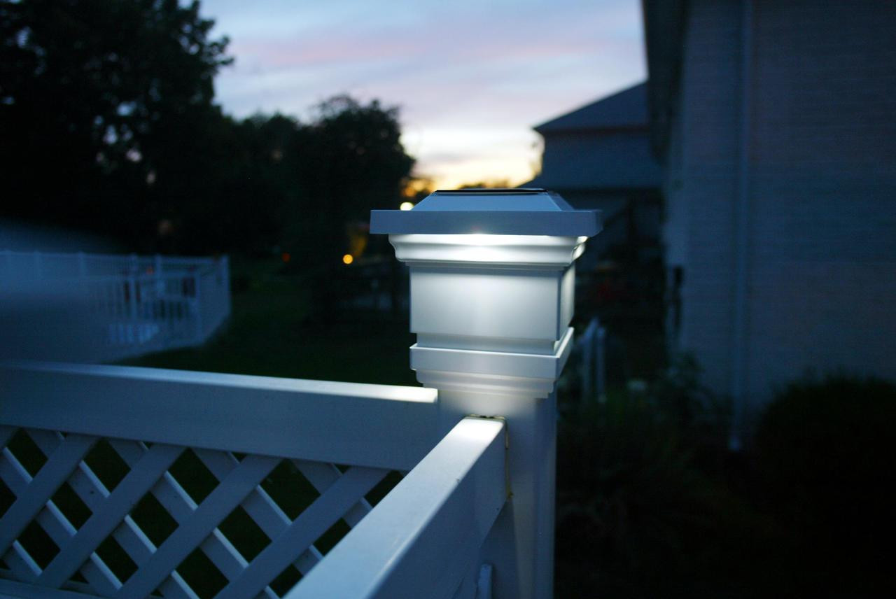Solar Wood Fence Post Caps Classy 3 5 Quot White High Profile