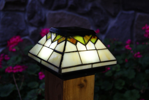 The Wellington Stained Glass Solar Post Cap Lights will fit Wood 4x4 fence posts and Vinyl 4x4 and 5x5 post caps.