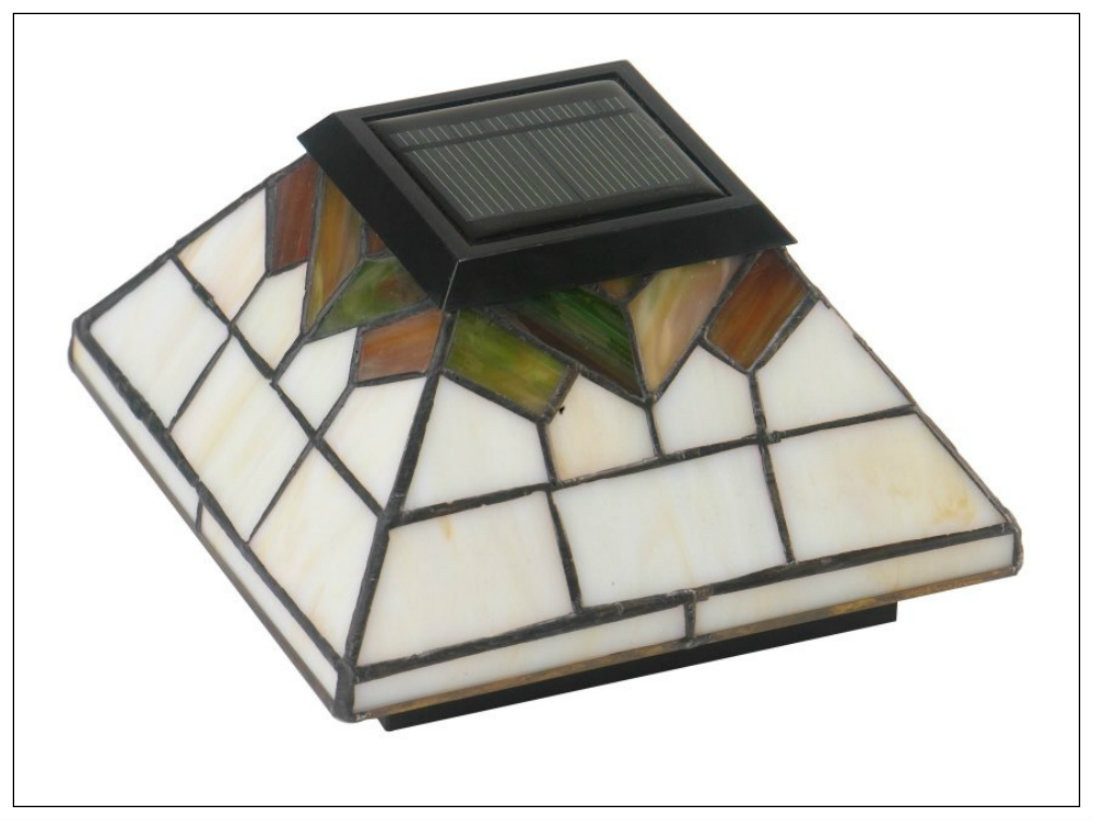 solar deck post cap lights in craftsman style stained glass and 4 led