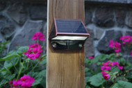 Solar Deck Rail Lights and Low Profile Solar Wall Lights in Copper Finish, with 2 Bright White LED.