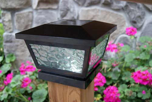 Black Solar Deck Post Lights For Wood Vinyl Posts Set