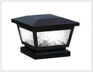 Solar Post Cap Lights Black with Pebbled Glass and 2 White LED.