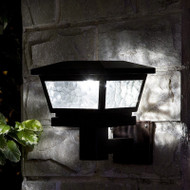 Solar Black Wall or Post Mount Light with Pebbled Glass, 2 Brilliant White LED, Set of 2