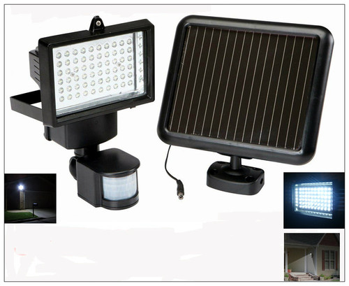 Indoor Solar Security And Motion Detector Light 60 Led Black