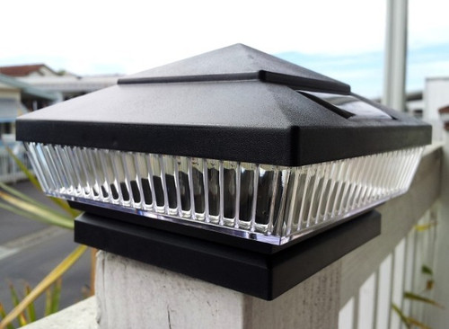 Solar Fence Post Lights Black Led Color Choices Set Of