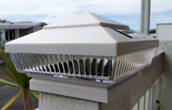 4x4 White Fence Post Solar Cap Lights Set Of 2 Custom Led