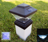 Solar Post Cap Lights with Black Finish and 1 White Ultra Bright LED Light.