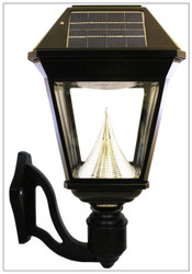 Solar Wall Mount Lanterns with Cast Aluminum and Beveled Glass Fixture.
