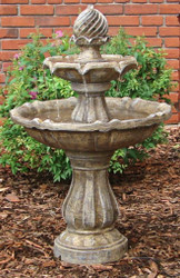 Solar 2 Tier Water Fountain in Earth Tone Color with Battery Backup, 34 Inches.