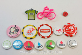 Cyclist's Grab Bag of Biking Cloisonne Pins & Buttons: Rapha, Crank Bro's, Pro Cycling Challenge, 15 Pieces