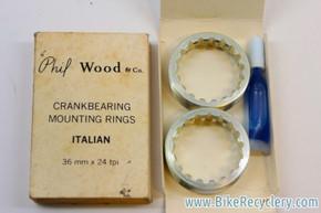 NIB/NOS Phil Wood Bottom Bracket Cups / Rings: Italian Thread, 1970's