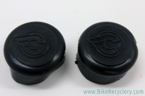 NOS Cinelli Rubber Handlebar End Caps: Flying C Logo - Black (Pair)