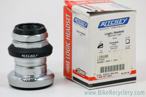 "NIB/NOS Ritchey Logic 1"" Threaded Headset: Silver / Black - 1990's"
