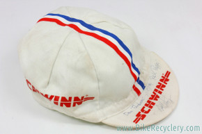 Autographed Schwinn Paramount Juvenile Team Cycling Cap: White w/ Red & Blue Stripes