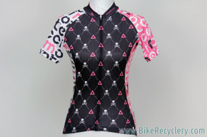 Montecci Women's Cycling Jersey: Small - Pink & Black - Skulls - Cute and wild! (NEW)