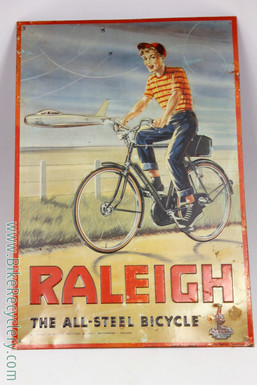 "Raleigh Tin Sign: ""All Steel Bicycle - 1950's Raleigh Sport & F86 Sabrejet - Lovely Patina (1990's Repoduction)"