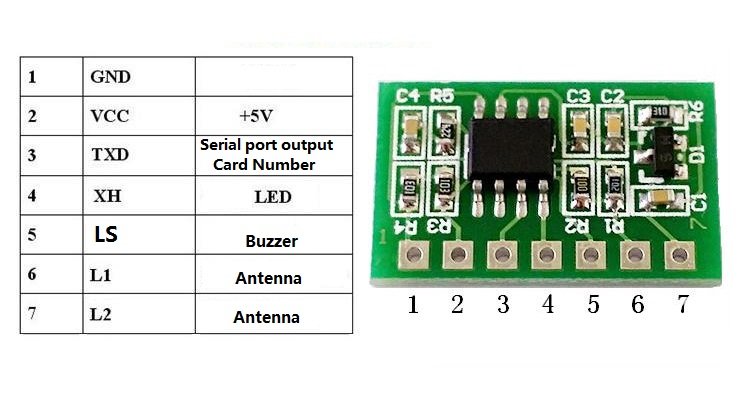 RFID 125kHz ID card reader Embedded module Circuit Modules UART