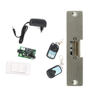 12V 315mhz Remote Control Electric strikes with two remote handle exit button full kit