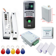 Fingerprint RFID Access Control System Kit Frameless Glass Door Set+Electric Bolt Lock+Card Keytab+Power Supply+Button+DoorBell