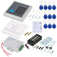 125KHz Rfid Card Reader Door Access Control Security System Kit + 60KG/132lb Electric Magnetic Lock + Power Supply Full Complete