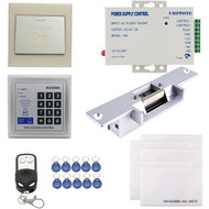 125KHz RFID ID Keyfobs One Door Access Control Kit Electric Strike Lock with remote handle