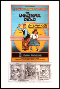 Grateful Dead Poster Nassau '73 Sketch & Final Image New Print Signed David Byrd