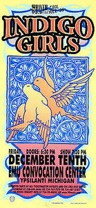 Indigo Girls Original Silkscreen Poster EMU Convocation Center 1999. Signed