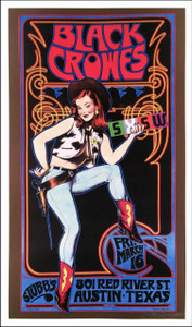 Black Crowes Poster Stubb's Austin 2001 Nice reprint Hand-Signed by Bob Masse