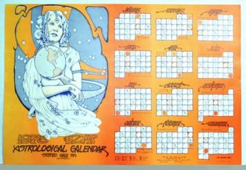 """KZAP 1973 Astrological Calendar Matches 2012 33.5"""" x 21.75"""" by Roger Shepherd"""