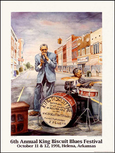 King Biscuit Blues Festival Poster 6th Annual 1991 PLUS Sonny Boy Corn Meal Bag