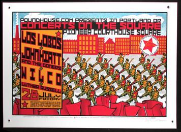 Los Lobos Wilco Poster John Hiatt 2000 Original Signed Silkscreen Gary Houston