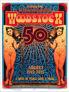 "Woodstock 50th Anniv Poster ""Nymphs"" Hand-Signed Ltd Ed of 100 by David Byrd COA"