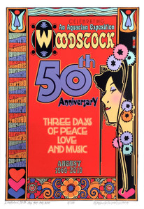 Woodstock 50th Anniv Poster Art Nouveau Hand Signed Numbered by David Byrd w COA