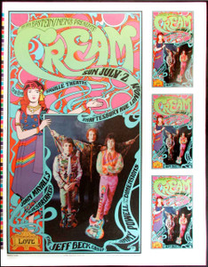 Cream Poster Saville Theater London 1967 '90s Reprint Uncut Proof Bob Masse