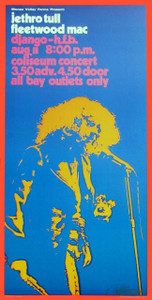Jethro Tull Poster Fleetwood Mac Vancouver 72 Nice Reprint Signed Bob Masse