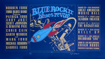 Blue Rocket Blues Revue 1997 Tour Poster Signed Silkscreen Gary Houston