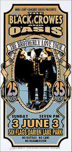 Black Crowes Oasis Poster 2001 Brotherly Love Tour Original Signed Mark Arminski