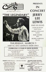 Jerry Lee Lewis & James Burton Poster Cherokee Music Hall Galt 1984 SHIPS FREE