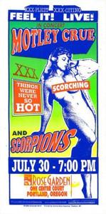 Motley Crue Scorpions Original Poster Handbill 1999 Mark Arminski Handbill NM