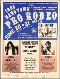 REBA McENTIRE Concert Poster JOHN SCHNEIDER Hangtown Rodeo 1986 Ships Free copy
