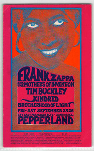 Mothers of Invention Frank Zappa Chambers Bros Original Handbill San Rafael 197.0