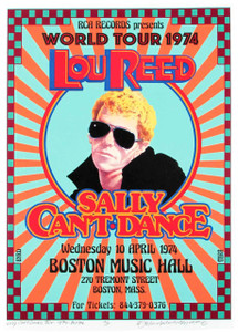 Lou Reed 1974 Sally Can't Dance World Tour Poster NEW Hand-Signed by David Byrd