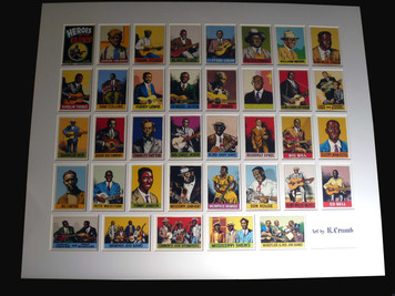 R. Crumb Heroes of the Blues Card Set Mounted behind Custom Mat GREAT BLUES GIFT