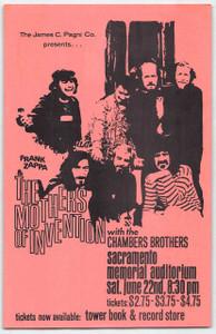 Mothers of Invention Frank Zappa Chambers Bros Original Handbill Sacramento 1968