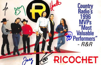 Ricochet Top Country Band 1996 Columbia Promo Postcard Hand Signed 1997 BIG 6x9