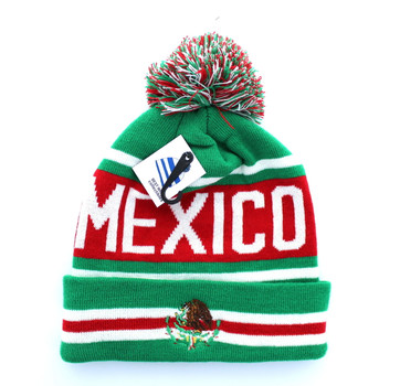 WB071 Mexico Pom Pom Beanie (Kelly Green   Red) - Ace Cap 15b228bce