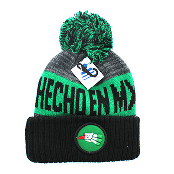 WB073 Mexico Eagle Pom Pom Beanie (Kelly Green   Black) - Ace Cap 815e92257
