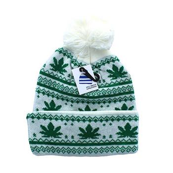 8ad6e4d2d0d WB075 Marijuana Pom Pom Beanie (White   Kelly Green) - Ace Cap