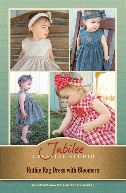 Ruthie Ragged Style Toddler Girls Dress, Bloomers & Headband Pattern